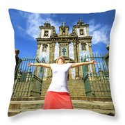 Saint Ildefonso Church Enjoying Throw Pillow