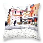 San Felice Circeo Square Throw Pillow
