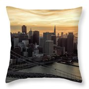 San Francisco City Skyline At Sunset Aerial Throw Pillow