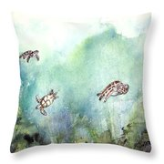 3 Sea Turtles Throw Pillow