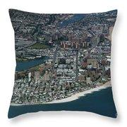 Seagate And Brighton Beach In Brooklyn Aerial Photo Throw Pillow