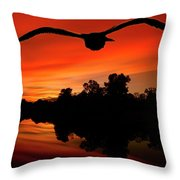 Seagull Flying In Action Throw Pillow by Fernando Cruz