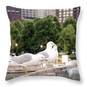 3 Seagulls In A Row Throw Pillow