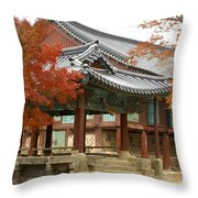 Seonamsa In Autumn Throw Pillow