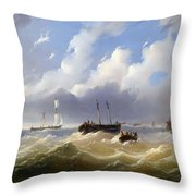 Ships On A Stormy Sea Throw Pillow