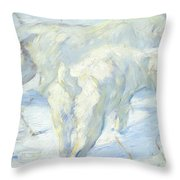Siberian Dogs In The Snow Throw Pillow