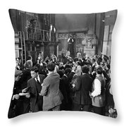 Silent Film Still: Crowds Throw Pillow