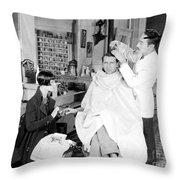 Silent Still: Barber Shop Throw Pillow