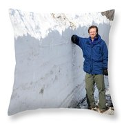 Snow By The Roadside Throw Pillow