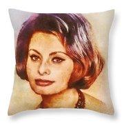 Sophia Loren, Vintage Hollywood Actress Throw Pillow