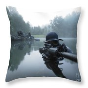 Special Operations Forces Combat Diver Throw Pillow by Tom Weber