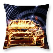 Sports Car In Flames Throw Pillow