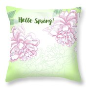 Spring  Background With White And Pink Peony Throw Pillow