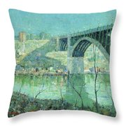Spring Night Harlem River Throw Pillow