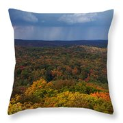 Storm Clouds Over Fall Nature Scenery Throw Pillow