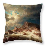 Stormy Sea With Ship Wreck Throw Pillow