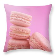 Strawberry Flavor Macaroons  Throw Pillow