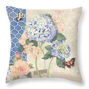 Summer Memories - Blue Hydrangea N Butterflies Throw Pillow