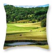 Summer Morning Hay Field Throw Pillow