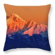 Sunrise On Mount Kanchenjugha At Dawn Sikkim Throw Pillow