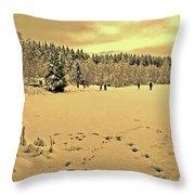 Sunset At Winter Lake Throw Pillow