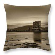 Sunset Over Castle Stalker,  Scotland, United Kingdom Throw Pillow