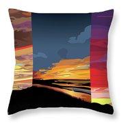 3 Sunsets Throw Pillow