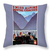 Switzerland Vintage Travel Poster Restored Throw Pillow