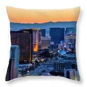 the Strip at night, Las Vegas Throw Pillow