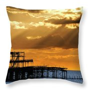 The West Pier In Brighton At Sunset Throw Pillow