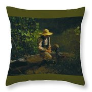 The Whittling Boy Throw Pillow