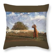 The Young Shepherdess Throw Pillow