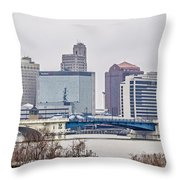 Toledo Ohio City Skyline And Bridges Around Downtown Throw Pillow