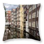 Traditional Canal Houses In Amsterdam. Netherlands. Europe Throw Pillow