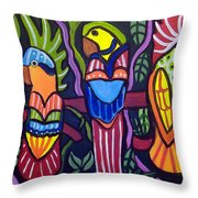 3 Tropical Birds Throw Pillow