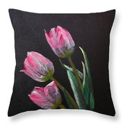 3 Tulips Throw Pillow