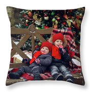 Two Children Sitting On A Bench With Candy Throw Pillow