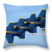 U S Navy Blue Angeles, Formation Flying, Smoke On Throw Pillow