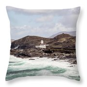 Valentia Island Lighthouse Throw Pillow