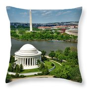 View Of The Jefferson Memorial And Washington Monument Throw Pillow