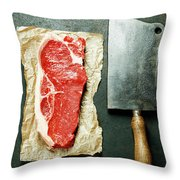 Vintage Cleaver And Raw Beef Steak Throw Pillow