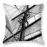 Vintage Style Picture Of Beautiful Sail Boat Details. Rope, Hull Throw Pillow
