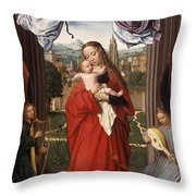 Virgin And Child With Four Angels Throw Pillow
