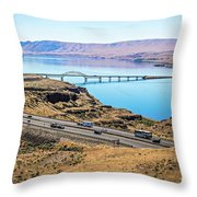 Wanapum Lake Colombia River Wild Horses Monument And Canyons Throw Pillow