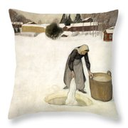 Washing On The Ice Throw Pillow