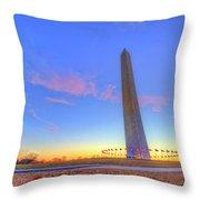 Washington Monument Sunset Throw Pillow