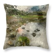 Watercolor Painting Of Beautiful Autumn Fall Landscape Image Of  Throw Pillow