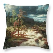 Waterfall In Smaland Throw Pillow