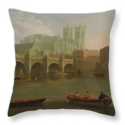 Westminster Abbey And Bridge Throw Pillow