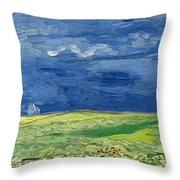 Wheat Field Under Thunderclouds Throw Pillow